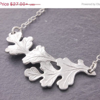 5-Day Sale Oak Leaf Necklace, silver leaf necklace, leaf charm necklace, leaf pendant, nature jewelry, holiday sale, black friday sale, real