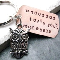 $14.95 Owl Keychain Whooo Loves You Hand Stamped great gift by riskybeads