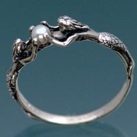 Mermaid Ring With Pearl by SheppardHillDesigns on Etsy