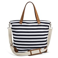 Women's Striped Canvas Tote Handbag with Removeable Crossbody Strap - Navy/White