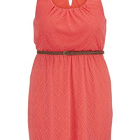 Plus Size - Belted Embroidered Mesh Overlay Dress - Calypso Coral