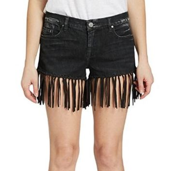 Women's Vintage Wrangler's Black Leather Suede Fringe Denim Short Trendy