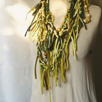 Mori Girl Natural Forest Girl Stule Long Necklace Finge Upcycled Woman's Clothing Eco Funky Tattered Style Shabby Chic Eco Friendly Style