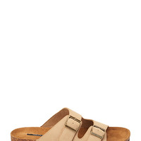Buckled Faux Suede Sandals