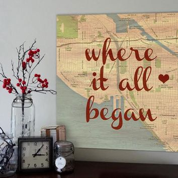 Romantic Map with Quote Art Customized with Places