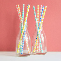 Rainbow Harlequin Paper Party Straws
