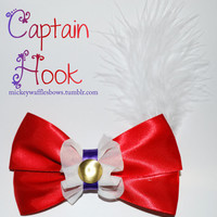 Captain Hook Hair Bow by MickeyWaffles on Etsy