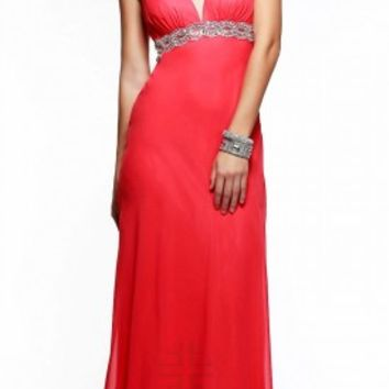 Natural waist beaded prom dresses by Faviana