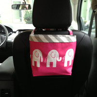 New HEADREST CAR CADDY now available for most GreenGoose Car Bags, Elephants Candy Pink/ White, Car Litter Bag, Car Accessories
