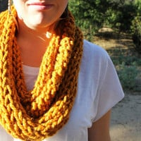 Knitted Tube Scarf in Mustard by KaylaKozy on Etsy