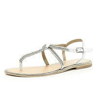 River Island Womens White chain embellished t bar sandals