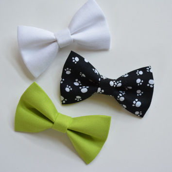 Set of three-hair bows, cute and small fabric bows, green, white, paw print