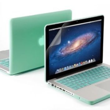 """GMYLE(R) 3 in 1 Robin Egg Blue Matte Rubber Coated See-Thru Hard Case Cover for Aluminum Unibody 13.3"""" inches Macbook Pro - with Robin Egg Blue Silicon Keyboard Protector - 13 inches Clear LCD Screen Protector - (Not Fit For Macbook Pro 13 with Retina Disp"""