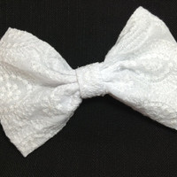 All white fabric hair bow great for little girls teens and woman -Flower girl wedding hair bow - sock bun hair bow - large fabric hair bow