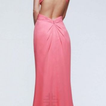 Overlapping bodice prom dresses by Faviana