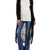 Black Geometric Lace Duster Cardigan by Charlotte Russe