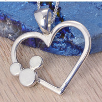 SALE Mickey Mouse Pendant - Disney Jewelry - Disney Necklace - Heart - Argentium Sterling Silver - Handmade