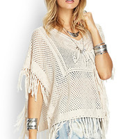 FOREVER 21 Butterfly Open-Knit Poncho Taupe