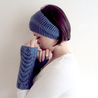 Blue Long Fingerless Gloves and Headband Set ,Valentines Day Gift , under 20 ,big sale