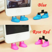 2 in 1 Creative 9 Colors Shoes iPhone Stand Data Port Cable Dust Plug Phone Accessory Charm Headphone Jack Earphone for iPhone 4 4S 5 5S 5C