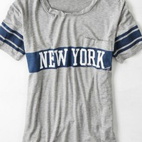 AEO Women's Don't Ask Why Contrast Pocket T-shirt