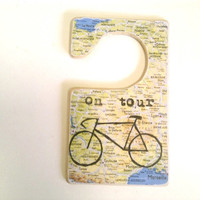 Bicycle France Tour Door Tag - On Tour Map Printed Sign