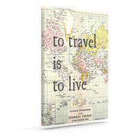 "Catherine Holcombe ""To Travel Is To Live"" Color Map Outdoor Canvas Art"