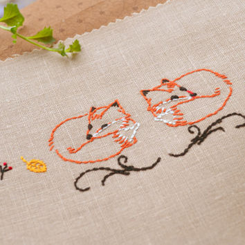 Fox Embroidery Pattern hand embroidery pattern by NaiveNeedle