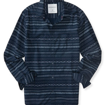 Long Sleeve Combo Stripe Woven Shirt