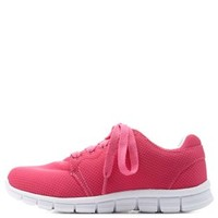 Fuchsia Colored Mesh Athletic Sneakers by Charlotte Russe