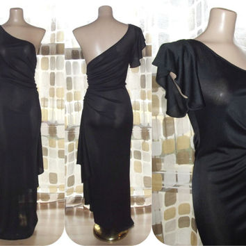 Vintage 70s 80s AMAZING Black One Shoulder Ruched & Draped Grecian Dress Formal Gown 9/10 M/L