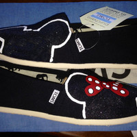Dreams Come True (Color Silhouette w/ Black Glitter Detail) Inspired Custom TOMS Shoes