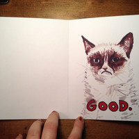 Grumpy Cat Wants to be Your Valentine - Hand-Drawn Valentines Card