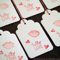 Valentine's Day Gift Tags Sealed with a Kiss Lips Hello Love Heart Stamp 3x5 Large Hang Tags Set of 6