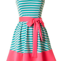 Mint and Pink Strapless Striped Dress - Will be back 3/19