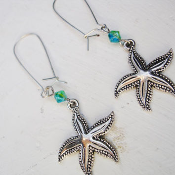 Starfish earrings, beach, ocean, summer, silver, green, blue, sea, gift for her, birthday gift