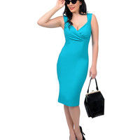 1950s Style Jade Green Diva Fitted Wiggle Dress