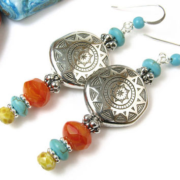 Sun Earrings, Silver Resin Disk Beads with Turquoise and Czech Glass, Long Dangles