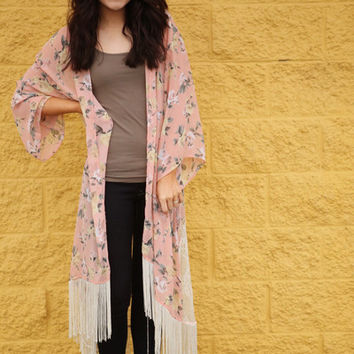 Printed Cardigan With Lace and Fringe