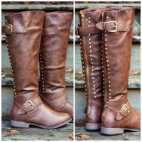 Land Explorer Brown Studded Zipper Boots
