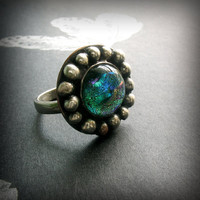 Cocktail Ring Sterling Silver Copper Dichroic by AndewynDesigns