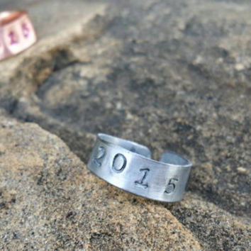 2015 Ring, Graduation Gift, Year Jewelry, Stamped Ring, Number Jewelry, Adjustable Ring, Unisex Boys Graduation Gift, Girls Grad Gift