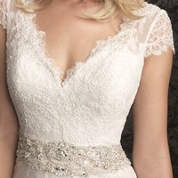 ZHUOLAN White V-shaped Neckline Lace Appliques A-line Wedding Dress XS