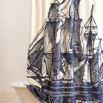 Elizabethan Sails Shower Curtain by Anthropologie Navy One Size Shower Curtains