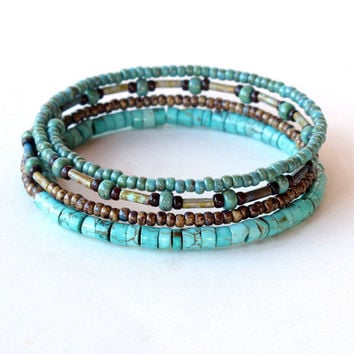 Beaded bracelet stack - turquoise & brown beads