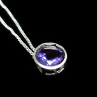 A Grade Large 8mm Faceted Purple Amethyst Pendant on Sterling Chain - Glowing Purple Wine