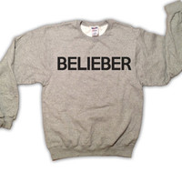 Belieber 026OX Justin Bieber Gray Sweatshirt x Crewneck x Jumper x Sweater - All Sizes Available