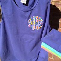 Comfort Colors pigment dyed tank with Circle Applique Monogram