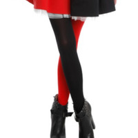 Black & Red Split Leg Tights