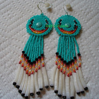 Native American Style Rosette beaded Cabachon earrings in Turquoise green